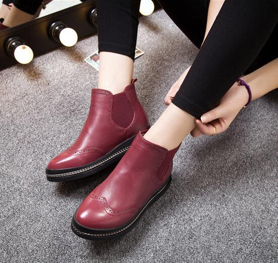 Oxford Flats Cow Leather Ankle Women's Boots Shoes Woman Female Fashion Genuine Leather Rubber Soles Superstar Casual Shoes