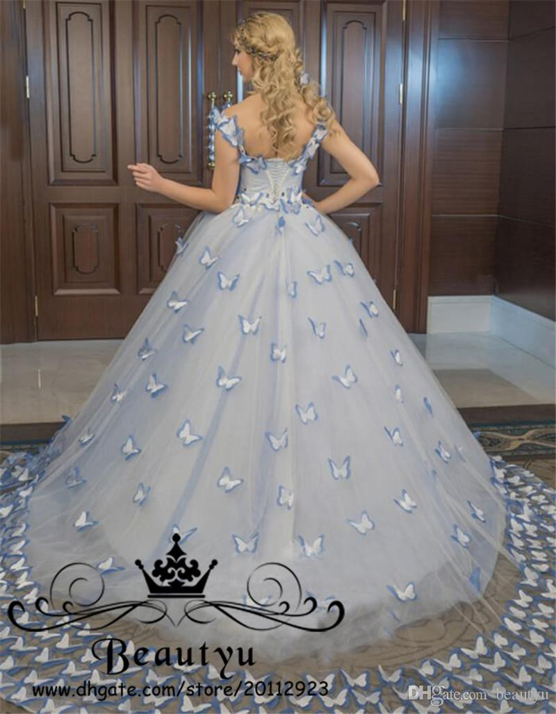 Blue Butterfly Victorian Princess Quinceanera Dresses 2018 Plus Size Off The Shoulder Lace up Sweet 16 Dress Ball Gowns Prom Masquerade Wear