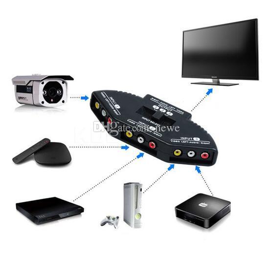 Neue Qualität Selector 3 Ports Video Switcher Spiel AV Signal Switch Kabel AV RCA AV Splitter Audio Converter für XBOX für PS TV