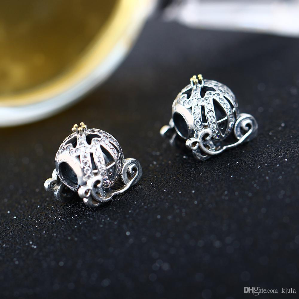 Diy Fit Pandora Armband Authentische 925 Sterling Silber Cinderella Kürbis Wagen Charm Bead Mit Klaren CZ Für Schmuck machen