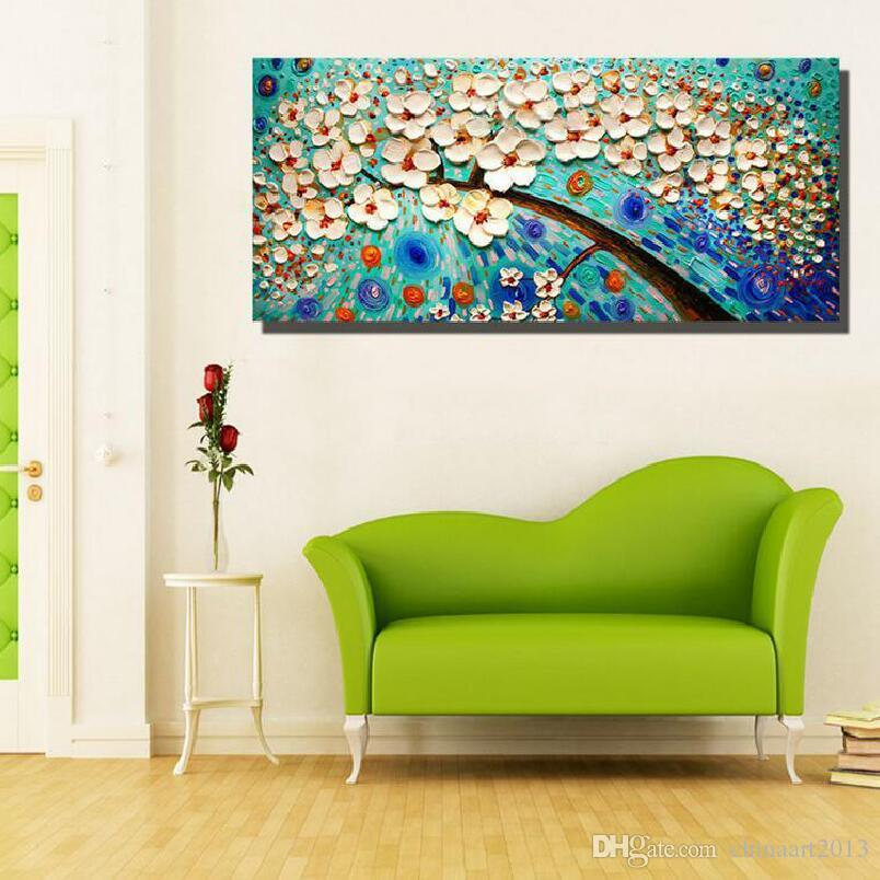 100% dipinto a mano spedizione gratuita grande pittura a olio astratta bianco coltello pittura su tela immagini arte decorazione della casa