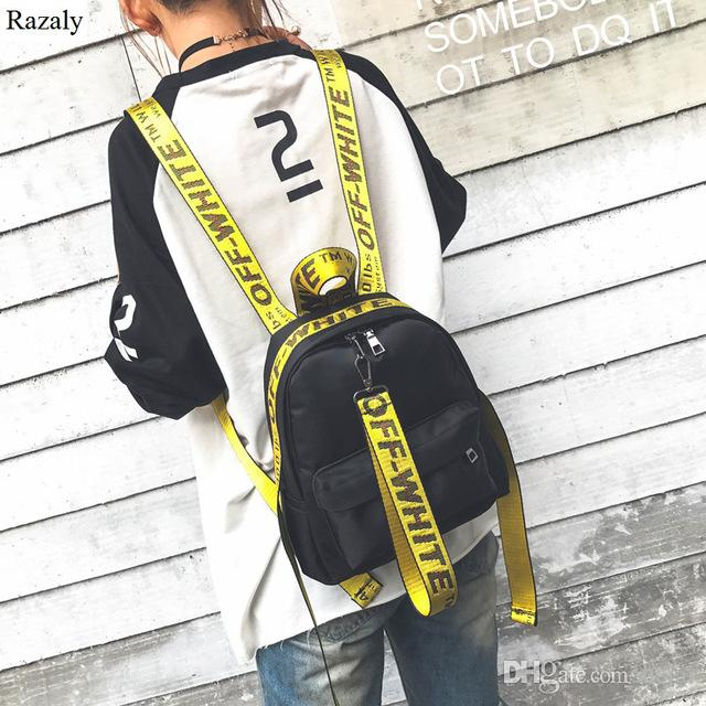 razaly brand off white backpack yellow letter fashion bag. Black Bedroom Furniture Sets. Home Design Ideas
