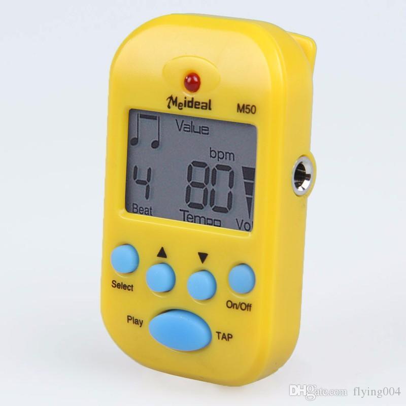 고품질 무료 배송 Metronome M50 Professional LCD 클립 온 디지털 튜너 Metronomfor 기타 피아노 흰색 기타 Mini Metronomo EA14