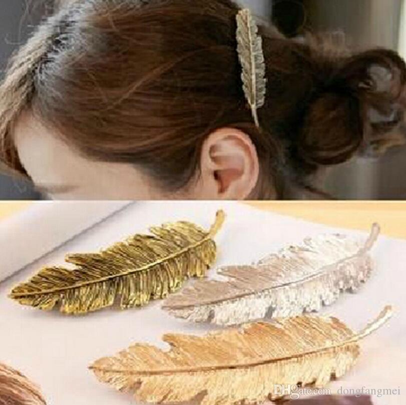 Hot sale Hair ornaments ponytail hair card exaggerated feather leaves spring hairpin clip FJ177 a