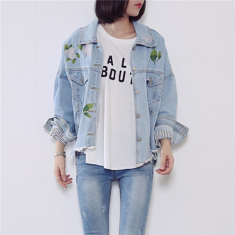 Wholesale- Light Blue Denim Jacket Women Embroidered Bomber Denim Jacket Female Outerwear Womens Autumn Jackets Coats Chaquetas Mujer C2621