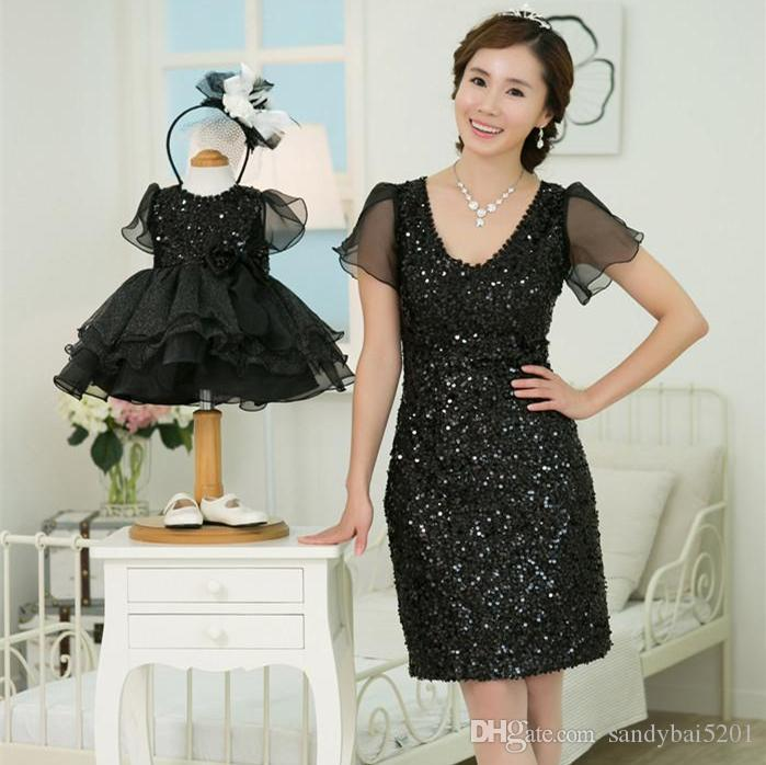 Wedding Birthday Sequined Dress Mother Daughter Tulle Dresses 2017
