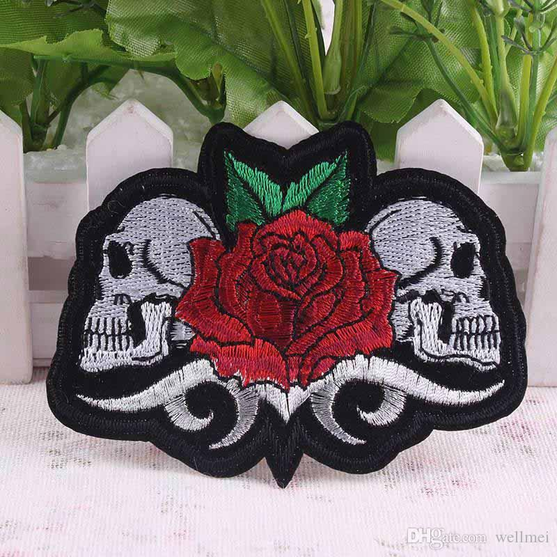 10Pcs Rose Skull Patch Stickers Iron On Punk Rock Patch Biker Cheap Embroidered Patches For Clothes Badges