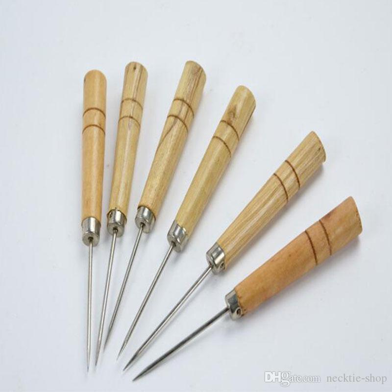 di alta qualità in pelle artigianale panno punteruolo pin strumento cucire punzonatura foro orologiaio di legno nuovo di zecca