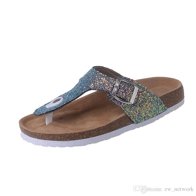 Cork Slippers Sequins Beach Flip-flops Women Fashion Soft Wooden Sole Slippers Lady Sexy Flat Flip Flops Outdoor Vogue Slippers Sandals