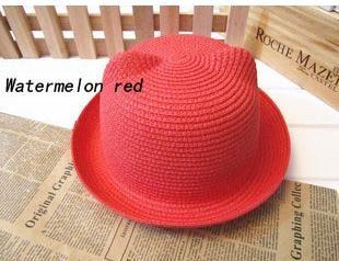 2017 Marka Hasır Şapka Yaz Çocuk Kulak Dekorasyon Güzel Çocuk Boys ve Boys Güneş Şapka Katı Çocuk Disket Panama M022
