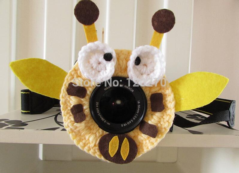 Christmas Gifts Honey Bee Photographer Shutter Buddies Pet Animal Hat Camera Lens Crochet Knitted Toys Kids Baby Newborn Photography Props