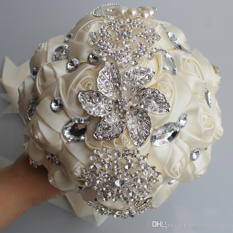 Ivoire Mariage Bouquets de mariée Simulation Fleur De Mariage Fournitures Fleur artificielle Cristal Sweet 15 Quinceana Bouquets W228-B