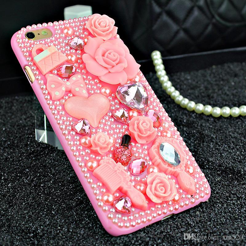 pearl 3d mode Rhinestone handmade crystal cover case for samsung galaxy grand prime/a3 /a5 /a7 /j3 /j5 /j7 for iphone 7 /7plus/6 6s /6 6s pl