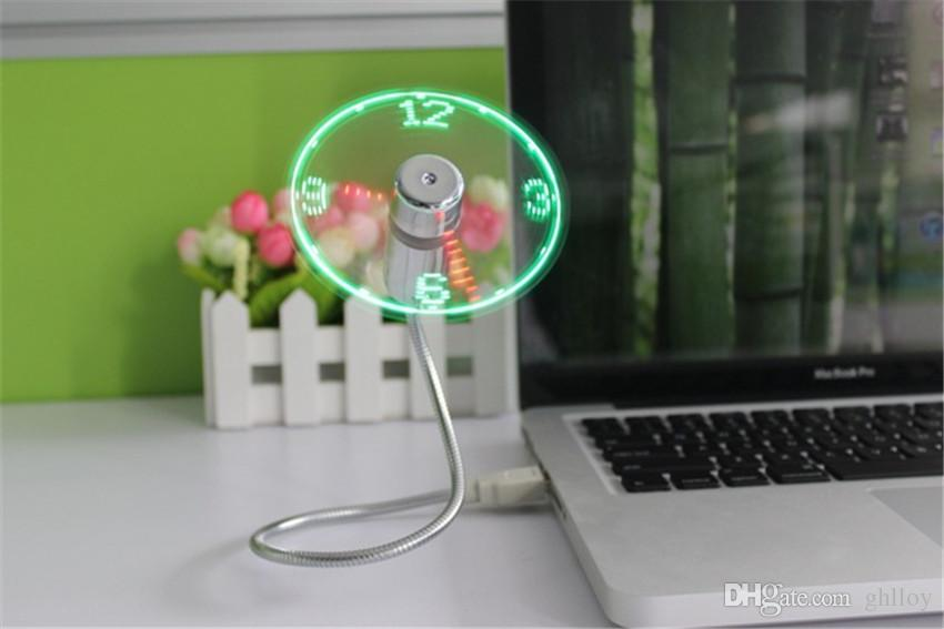 Mini USB LED Fan Clock Display Flashing Time USB Clock Fan For PC Notebook Power Bank Charger With ith Clock USB Gadgets