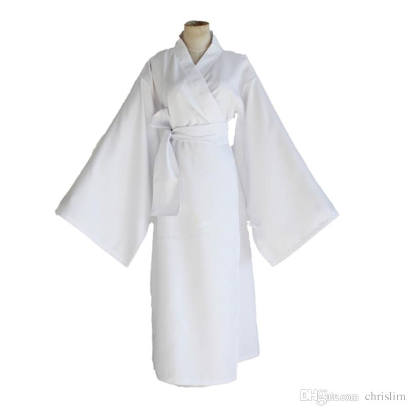 Costume japonais Anime Noragami Cosplay Costume Yukine pour les adultes blanc Robe traditionnelle japonaise + écharpe par ensemble