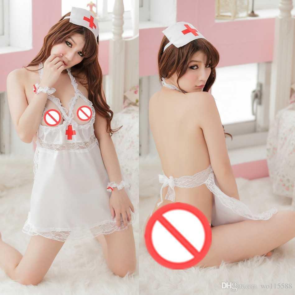 Frete grátis new lingerie sexy cosplay sexy underwear enfermeira branco uniformes senhoras pijama transparente terno boate sexy minissaia