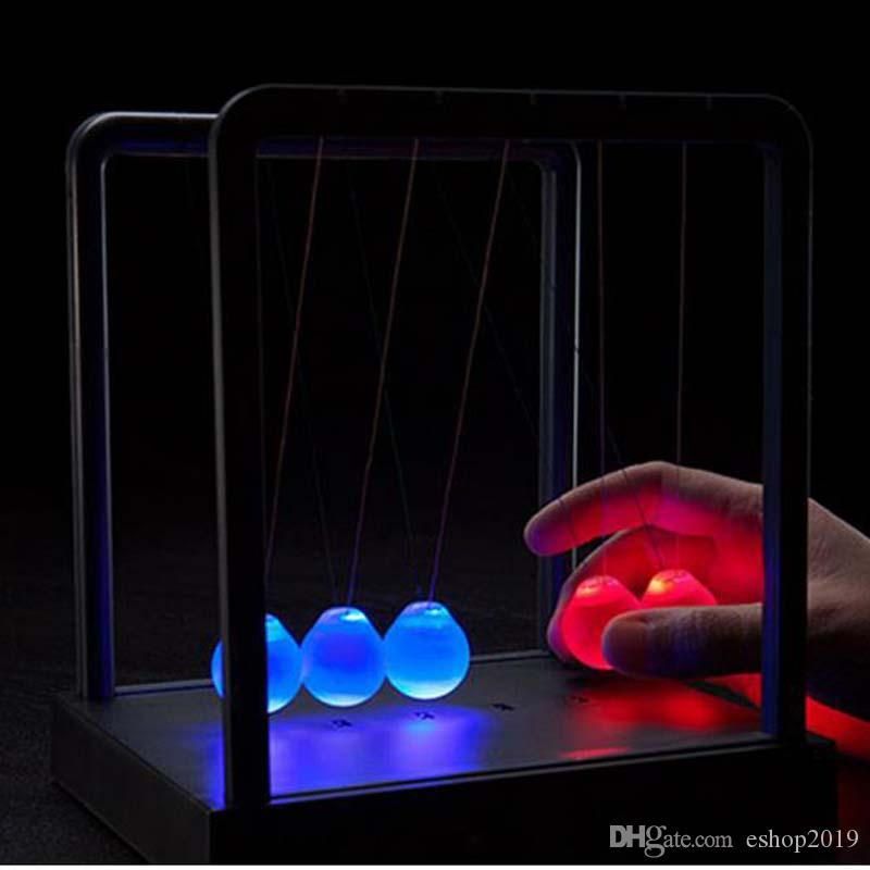 2017 new LED Newtons Cradle Balance Balls Desk Science Toy Gift wholesale Kinetic Light