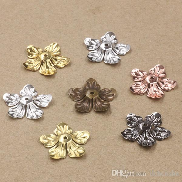 07462 20mm antique bronze silver rose gold gun black filigree flower charms for jewelry parts bead cap making, necklace pendant for bracelet