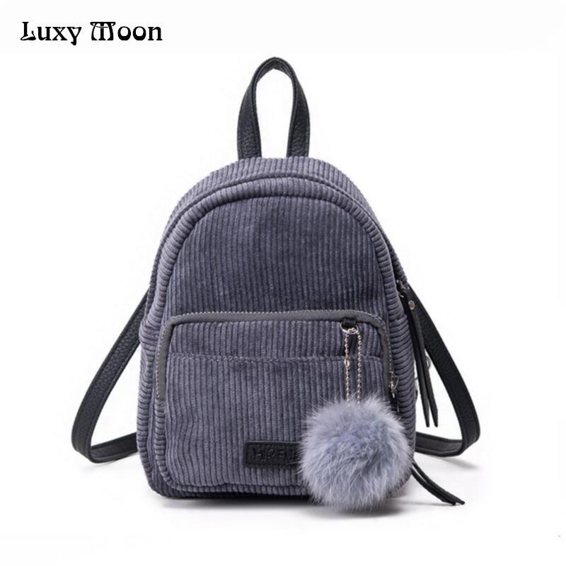 Wholesale Girl Backpack Small Mini Backpack Small Women Shoulder Bag Fur  Ball Solid Color Corduroy Back Pack Winter Velvet Schoolbag ZD556 Jansport  ... 92aade2f7301