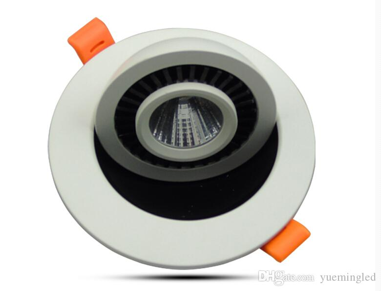 НОВЫЙ 12W COB круглая вращающаяся карданный Диммируемый LED светильники встраиваемые лампы потолочные панели белый свет в помещении шайба светильник светильник AC85-265V