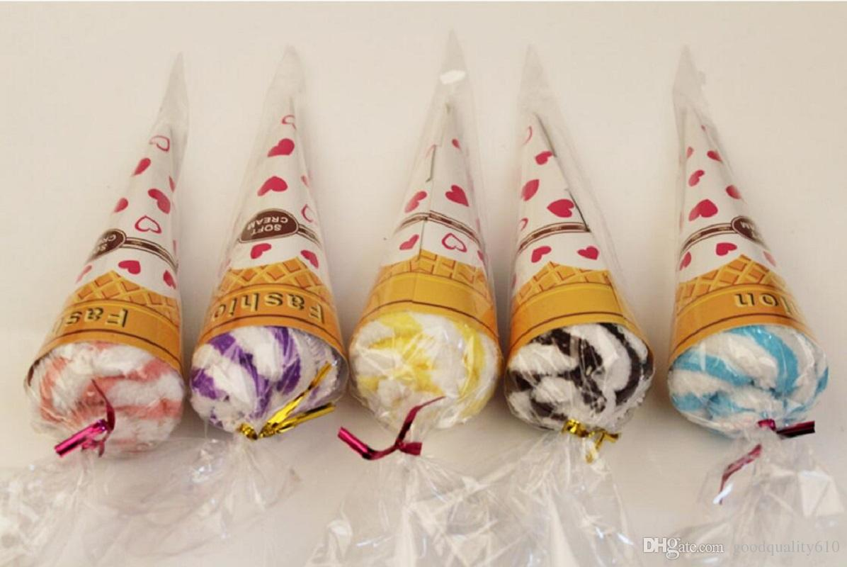 Mixed color Ice cream Cake Style Towel Fibre Creative Towels For Wedding Party Birthday Favor Gift Souvenirs Souvenir