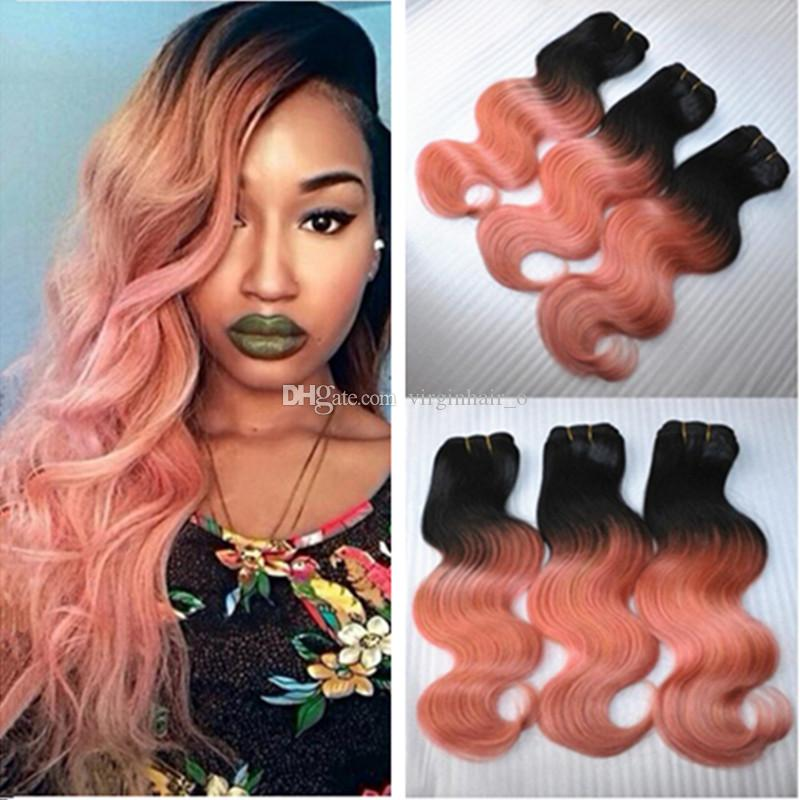 Pink weft hair extensions online pink weft human hair extensions 3 bundles rose gold ombre hair extensions two tone color 1b pink ombre body wave wavy brazilian unprocessed virgin human hair weaving wefts pmusecretfo Image collections
