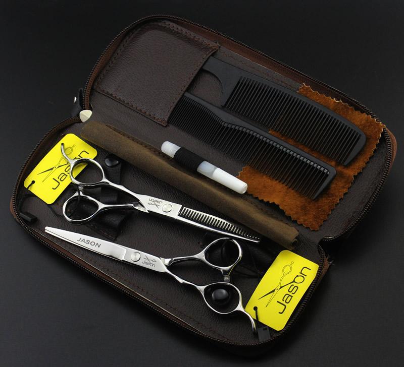 """5.5"""" 6.0"""" Jason Left Hand Cutting Scissors Thinning Shears Professional Hairdressing Scissors Kit JP440C Left_handed Barber Scissors,LZS0599"""