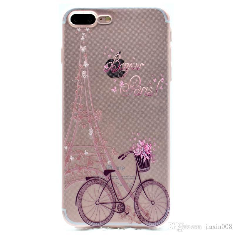 Şeffaf TPU Kapak Apple iPhone 7 Için Artı Durumda Moda Kulesi Bisiklet Kelebek Kız Tüy Tasarım Cep Telefonu Kılıfları Için iPhone 8 Artı