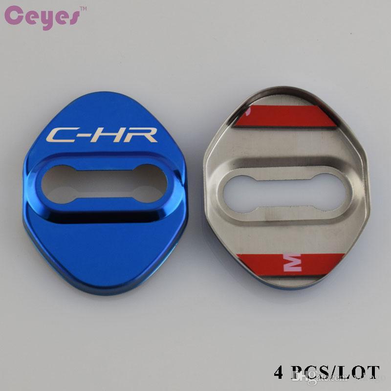 غطاء قفل باب السيارة سيارة التصميم c-hr شعار شارة لتويوتا كورولا أفينسيس c-hr rav4 أوريس حالة الفولاذ المقاوم للصدأ اكسسوارات السيارات التصميم
