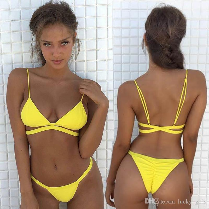 1c0f1b1fb0 2019 New Sexy Brazilian Bikinis 2017 Yellow Swimwear Women Swimsuit Beach Bathing  Suit Biquini Bikini Set Bandage Swim Suit Maillot De Bain Femme From ...