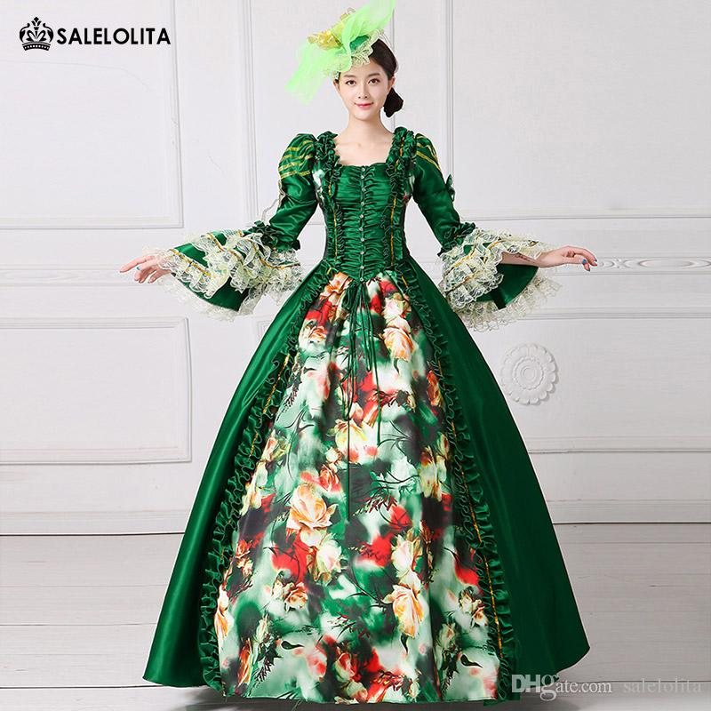 2c6f3d6980be 2017 Royal Green Floral Printed Marie Antoinette Dress Medieval Civil War  Southern Belle Ball Gowns Women Reenactment Clothing Funny Family Halloween  ...