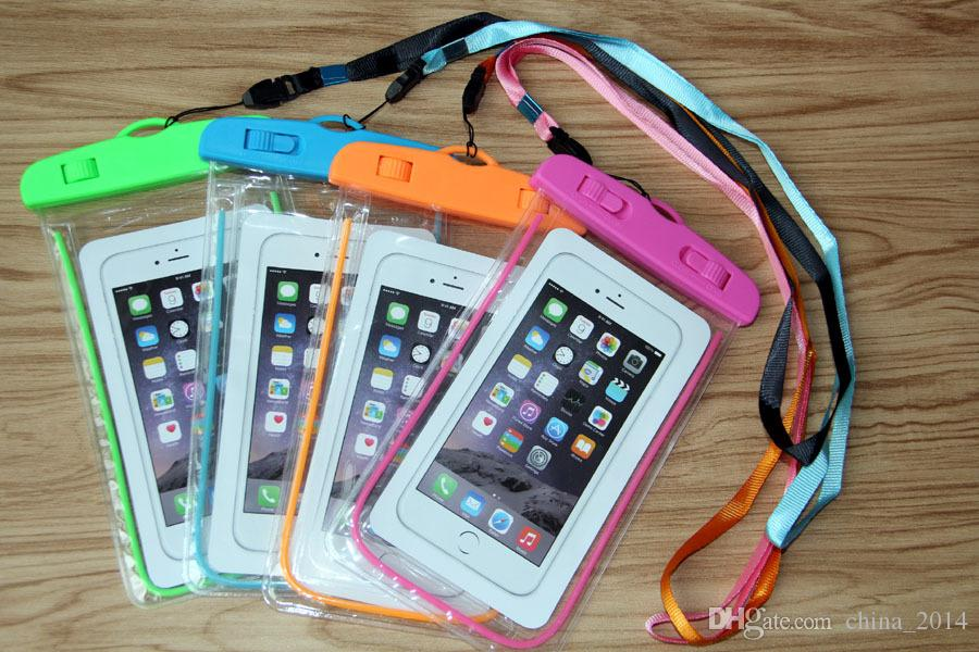 Clear Waterproof Pouch Dry Case Cover For Camera Mobile phone Luminous Waterproof Bags for iphone samsung htc by DHL