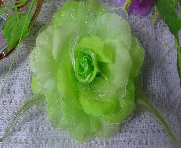 Frete grátis Moda acessórios para o cabelo Lady pena Flor grampos de cabelo Broche mix cores Crocodilo clipe Broche