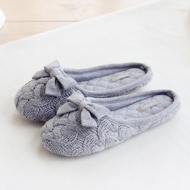 knitted bowtie winter women home slippers for indoor bedroom house