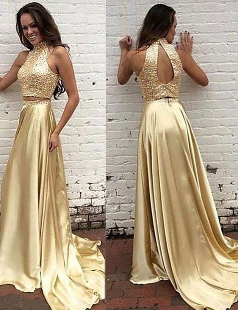 ab63cb48c Dos piezas de oro vestidos de baile largo 2017 de cuello alto sin mangas  Backless tren