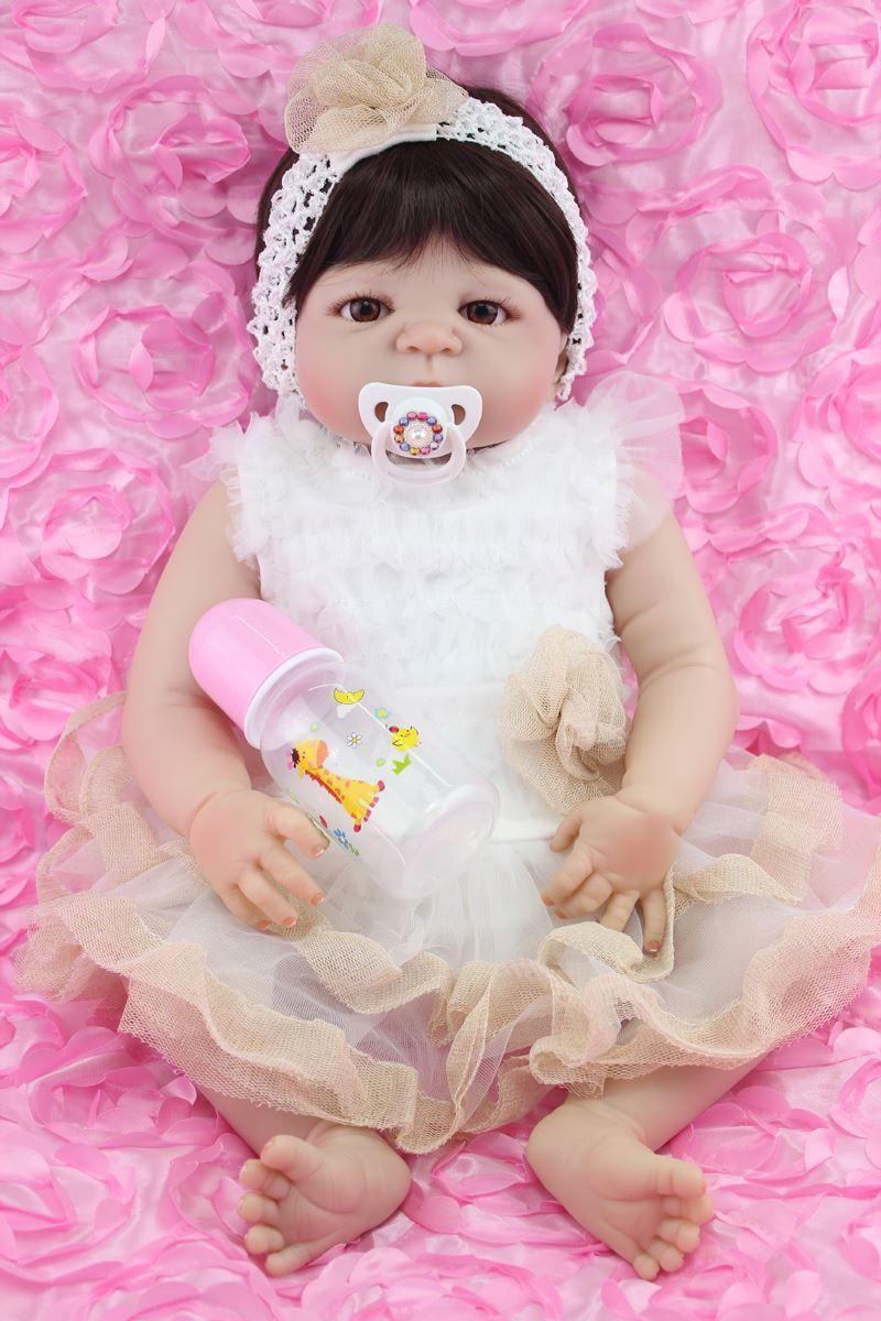 Full Silicone Body Reborn Girl Baby Doll Toy 55cm Cute