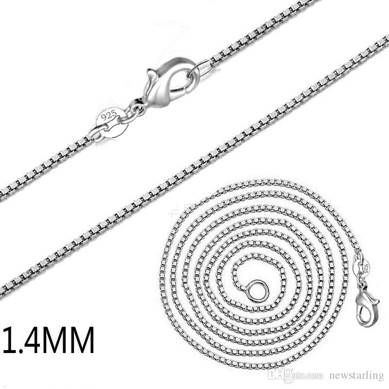 Lowest Price 925 Sterling Silver Box Chain Necklace Lobster Clasps Single Link Chains 1.4mm 16-24inch Fit DIY Pendant Charm Necklace