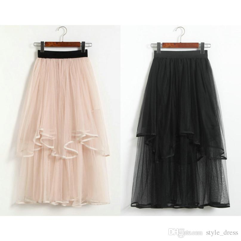 2506276713 Fashion Layered Tulle A Line Skirts Women Casual Elastic High Waist ...