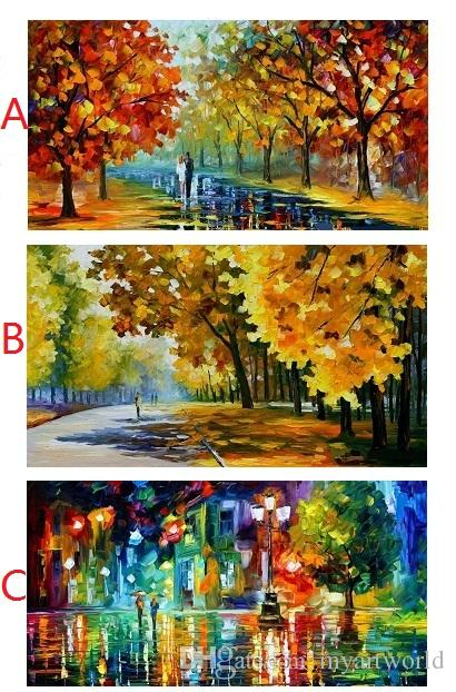 Color painting The trees Street lamp Lovers rain,Pure Handpainted ART Oil Painting High Quality Canvas,Free Shipping,Multi customized size
