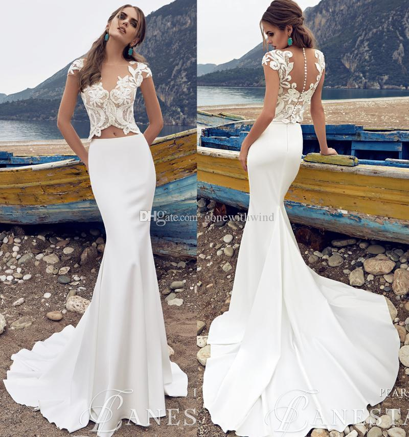 Y Sheath Wedding Dresses 2017 Illusion Bateau Neckline