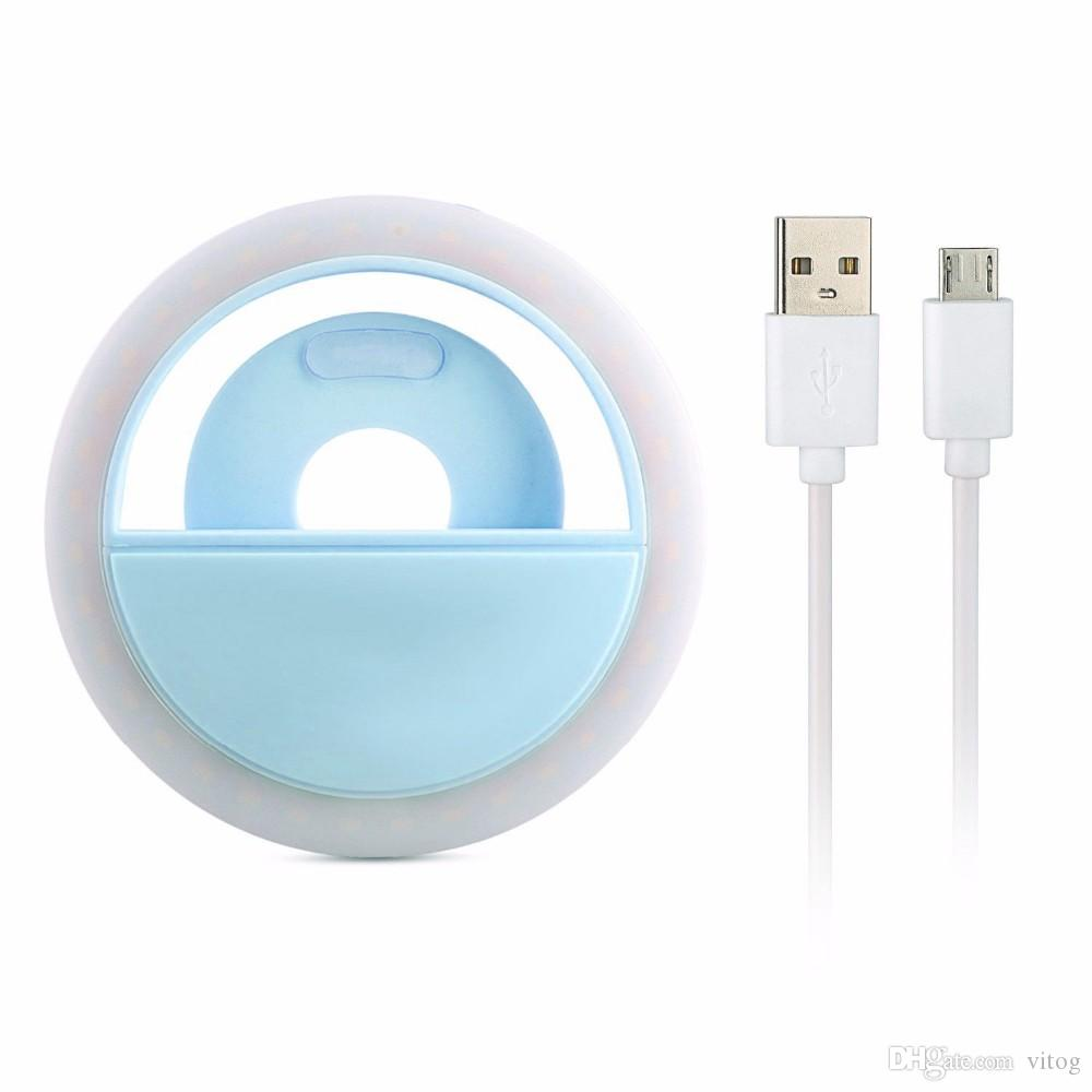 Para iphone x recarregável universal luxo telefone inteligente led flash light up anel de telefone selfie luminosa para o iphone android com usb de carregamento