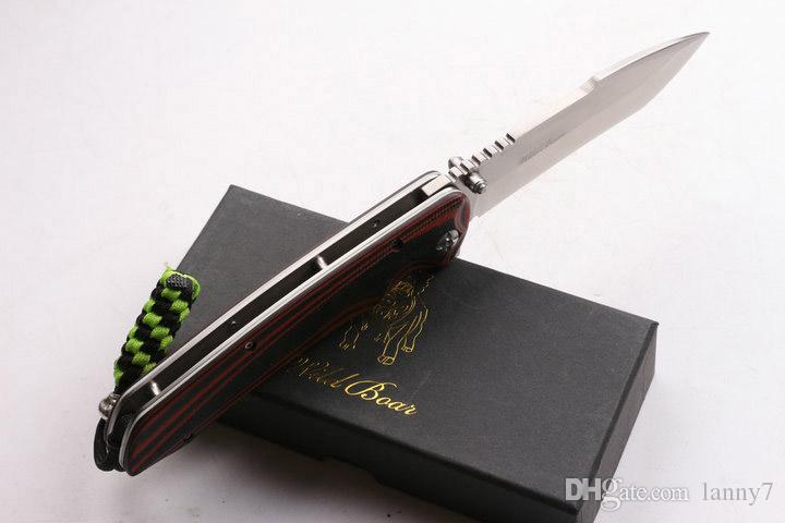 2016 New Wild Boar SZ002 Flipper folding blade knife 60HRC Satin Finish Blade G10 Handle knife EDC Pocket knives with gift