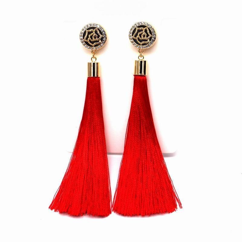 f6c866365f5 Compre Chapado En Oro Nueva Borla Pendientes Largos Para Mujer Bijoux  Joyería De Moda Al Por Mayor Rojo Negro Azul Colores A  10.38 Del  Kunxiu20170214 ...