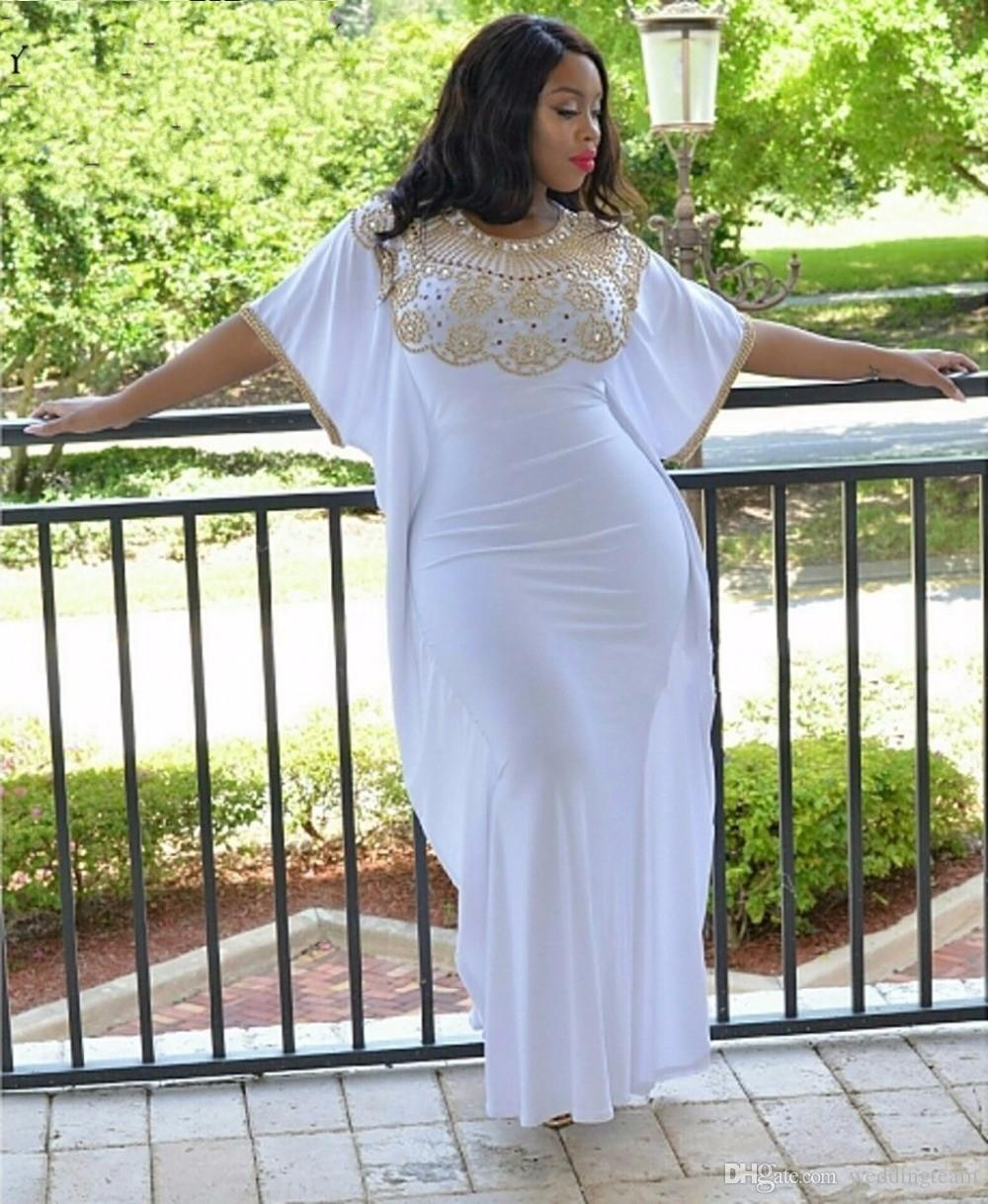 African White Sequined Plus Size Prom Dresses Gold Beaded Jewel Neck ...