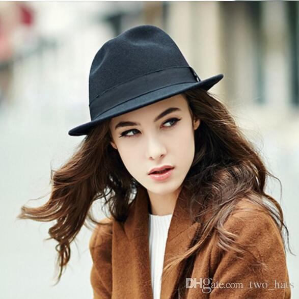 Women S Wool Fedora Hats Classic Sun Hats Panama Style For Female Narrow  Brim With Bowknot Holidays Headwear Solid Colors UK 2019 From Two hats efd6f480b