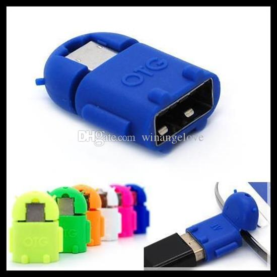 Adaptador Micro USB a USB OTG Adaptador OTG de Android Robot Shape para teléfono inteligente, teléfono móvil Conexión a USB Flash / Mouse / Keyboard