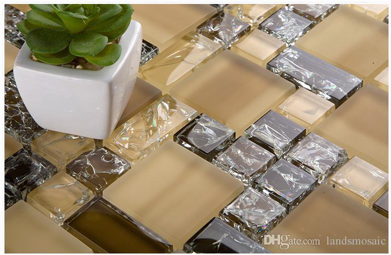 Großhandel Crystal Ice Crack Gold Glas Mosaikfliesen Küche Kamin Bad Dusche  Wand Dusche Tv Badewanne Hintergrund Wand Kunst Dekor, Lsbv1104b Von  Landsmosaic ...