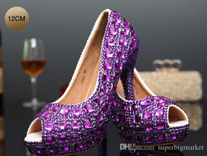 Rhinestone Peep Toe Kristal Yüksek Topuk Düğün Ayakkabı Gümüş Gelin Elbise Ayakkabı Kadın Gece Kulübü Parti Ziyafet Elbise Ayakkabı
