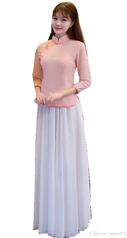 531bcb446 Compre Xangai História Do Vintage Chinês Tradicional Roupas Top + Saia  Encantador Cantão Bordado Cheongsam Vestido De Noiva Longo De Noiva  Asiático Rosa De ...