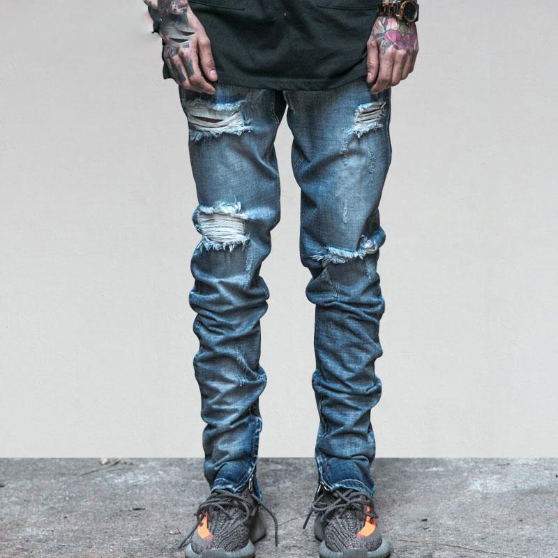 Acquista Jeans Strappati Da Uomo Caviglia Con Cerniera Jeans Da Uomo  Pantaloni Da Uomo Jeans Estivi Vintage Slim Skinny Slim Fit Blu Denim A   45.69 Dal ... d97e048fd28c